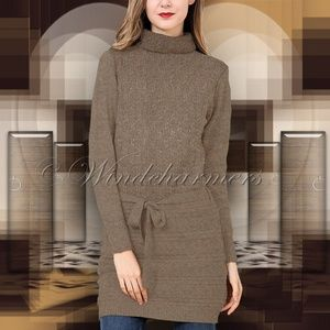 Simply Couture Taupe Knit-Panel Turtleneck Tunic